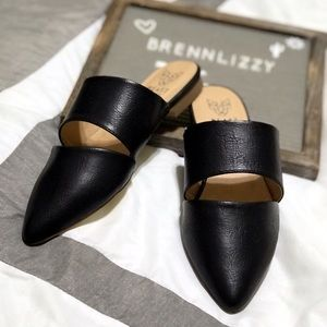 Black Mules Pointed Flats Sandals Casual Slip-on